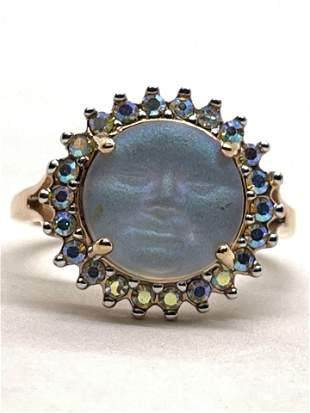 GOLD TONE STERLING SILVER MOON FACE COCKTAIL RING SZ 7