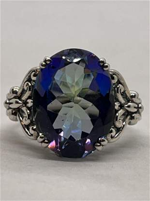 4 CT MYSTIQUE TOPAZ STERLING SILVER COCKTAIL RING SZ 7
