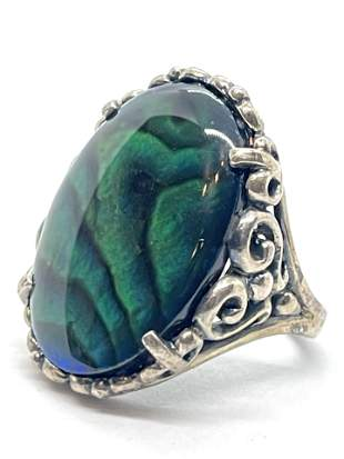 STERLING SILVER 5 CT GREEN STONE COCKTAIL RING SZ 7
