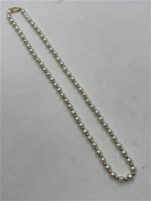 ART DECO 14K GOLD & NATURAL PEARLS BEADED NECKLACE