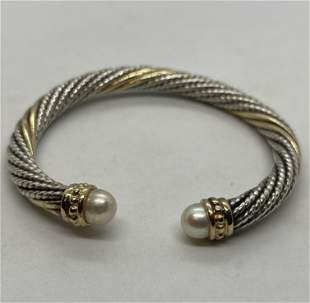 18K & STERLING SILVER MABE PEARL COCKTAIL CUFF BANGLE