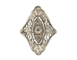 ART DECO 0.60 TCW EUROPEAN DIAMONDS PLATINUM FILIGREE