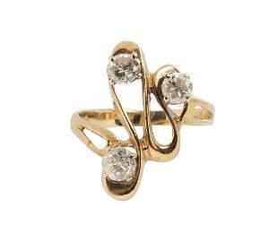 14K GOLD 0.75 TCW FULL CUT DIAMONDS RING SZ 6