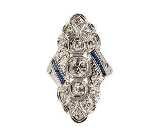 ART DECO 1.25 TCW EURO-CUT DIAMONDS FILIGREE RING