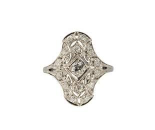 ART DECO 0.50 TCW VS DIAMONDS BEAD-SET FILIGREE RING SZ