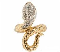 ESTATE 14K GOLD 1/2 CT DIAMOND SNAKE RING SZ 7