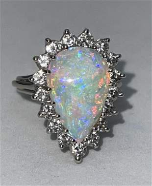 14K GOLD 4 CT FIRE OPAL 3/4 TCW DIAMONDS COCKTAIL RING