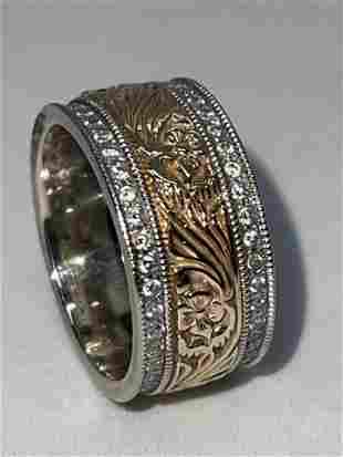 ESTATE 14K WHITLE GOLD DIAMONDS FLORAL ETERNITY BAND SZ