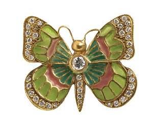 PLIQUE-A-JOUR 18K GOLD ENAMEL DIAMOND BUTTERFLY BROOCH