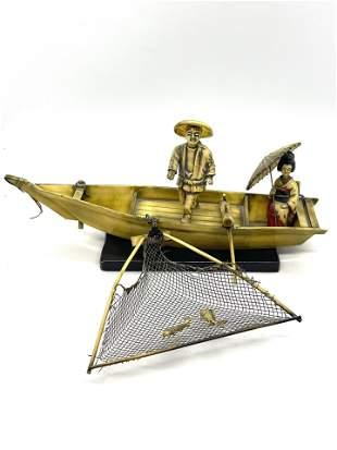 ANTIQUE JAPANESE FISHERMAN CARVED BONE BUST