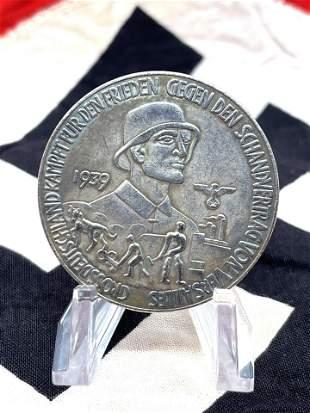 WW2 GERMAN MIT ZUVERSICHT INS NEUE JAHR MEDAL NAZI COIN