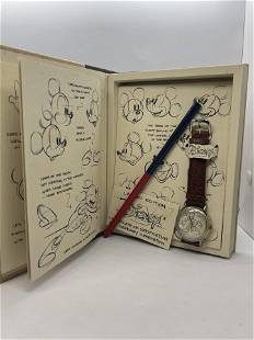 VTG. SKETCHES OF MICKEY MOUSE WRISTWATCH IN BOOK CASE