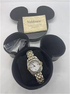VALDAWN MICKEY MOUSE 2 TONE COLLECTIBLE WRISTWATCH