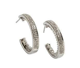 ELEGANT 14K WHITE GOLD 1.50 TCW DIAMONDS HOOP EARRINGS
