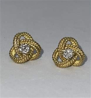 STUNNING 18K GOLD 1/2 TCW SI,H DIAMONDS STUDS EARRINGS