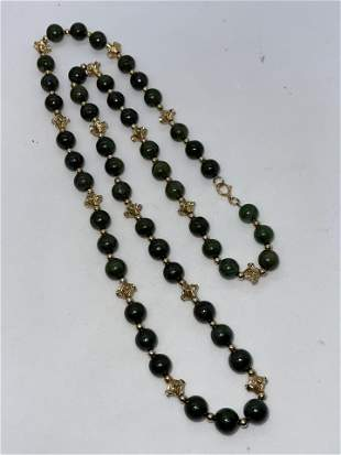 ANTIQUE 14K GOLD BEADS AND JADE BEADS COCKTAIL NECKLACE