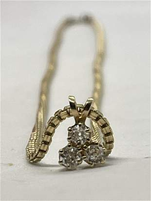 14K GOLD 0.60 TCW VS, G DIAMONDS PENDANT ON GOLD FILLED