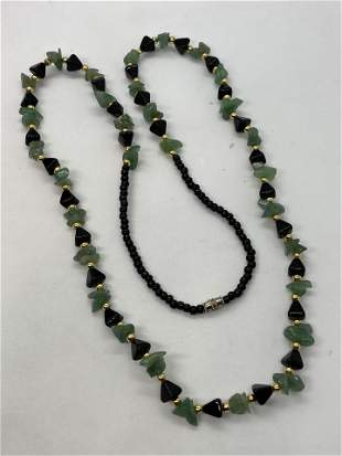 14K GOLD JADE AND ONYX BEADED COCKTAIL NECKLACE