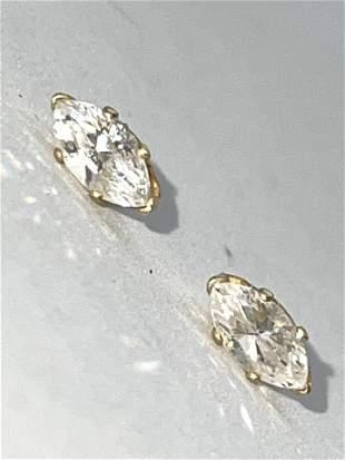 14K GOLD 1.30 TCW SI,H MARQUISE DIAMONDS STUDS EARRINGS