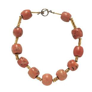 HIGH KT GOLD & BEADED CORAL COCKTAIL NECKLACE