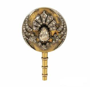 ANTIQUE 18K GOLD 2 CT ROSE-CUT DIAMOND UCHIWA FAN