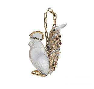 18K GOLD MOUNTED ROCK CRYSTAL ROOSTER WITH GEMSTONES
