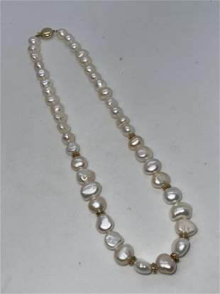 ESTATE 14K GOLD MABE PEARL BEADED COCKTAIL NECKLACE