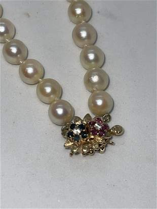 14K GOLD DIAMOND RUBY SAPPHIRE BEADED PEARL NECKLACE