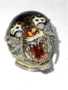 1960'S DESIGNER 18K GOLD DIAMONDS ENAMEL TIGER BROOCH