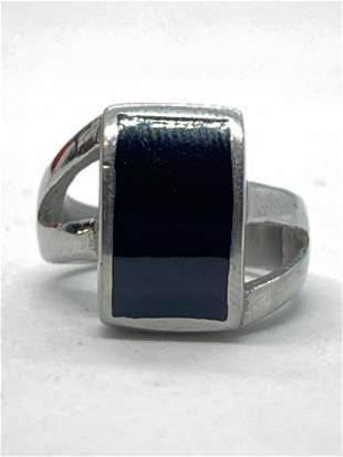 STERLING SILVER 3 CT ONYX COCKTAIL RING SZ 7