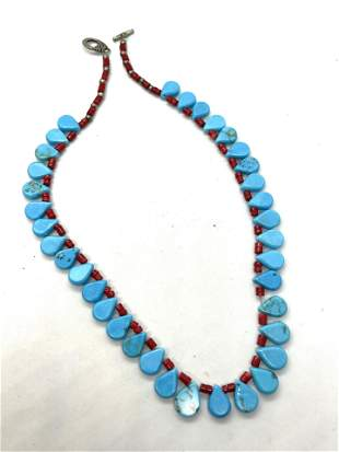 NATIVE AMERICAN TURQUOISE CORAL SILVER PLATE NECKLACE