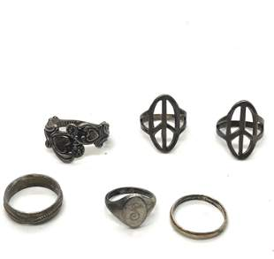 VINTAGE LOT OF (6) STERLING SILVER HIPPIE RINGS