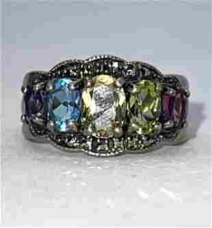 STERLING SILVER MULTI-STONE COCKTAIL RING SZ 6