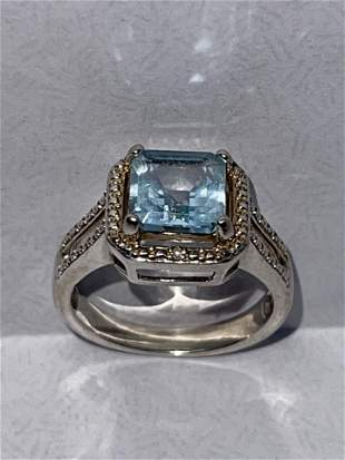 STERLING SILVER 1 CT PRINCESS BLUE STONE COCKTAIL RING