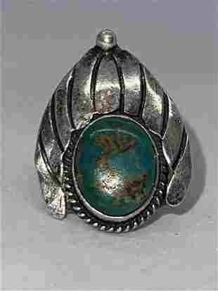 NATIVE AMERICAN STERLING SILVER 2 CT TURQUOISE RING SZ
