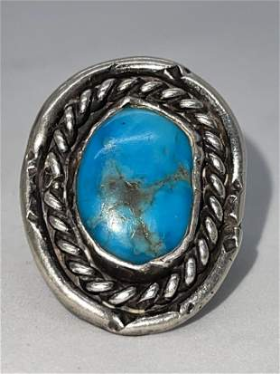 NATIVE AMERICAN STERLING 5 CT TURQUOISE RING SZ 9