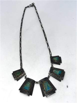 ANTIQUE STERLING SILVER 7 CT TURQUOISE NECKLACE