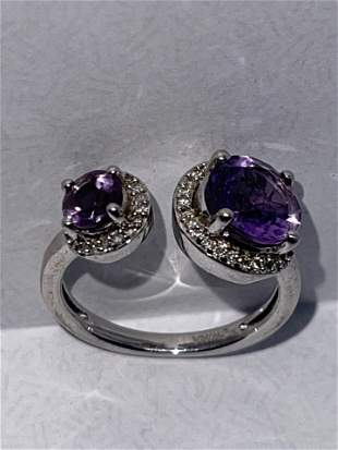 2 TCW AMETHYST STERLING SILVER COCKTAIL RING SZ 7