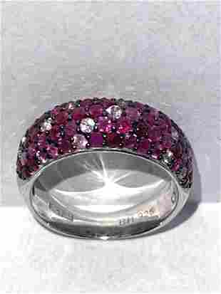 EFFY DESIGNER STERLING SILVER RING WITH PINK/RED STONES