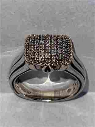 14K GOLD & STERLING SILVER DIAMONDS WEDDING RING SZ 7