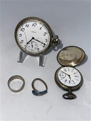 ESTATE LOT OF POCKET WATCHES & STERLING RINGS