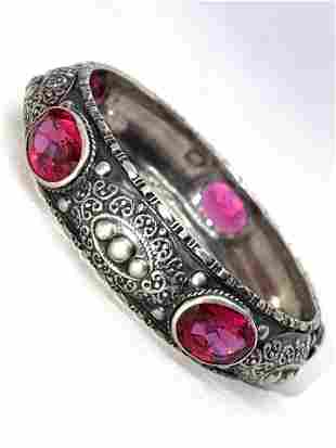 ANTIQUE STERLING SILVER 25 TCW RED STONES BANGLE