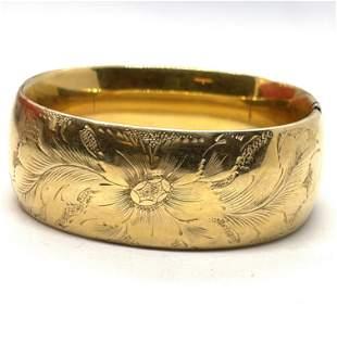 VICTORIAN GOLD FILLED FLORAL BANGLE BRACELET