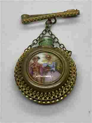 VICTORIAN HAND PAINTED FLASK BROOCH