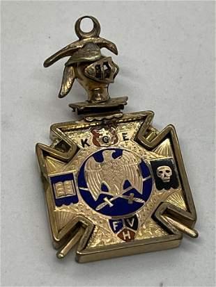 ANTIQUE GOLD FILLED KGE MASONIC CHARM PENDANT