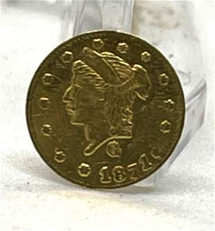 1871-G ROUND 1/4 DOLLAR LIBERTY HEAD CALIF. GOLD COIN