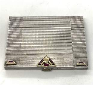 ART DECO STERLING & 14K GOLD CIGARETTE CASE W/WATCH AND