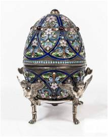 ANTIQUE RUSSIAN SILVER ENAMELED FABERGE EASTER EGG