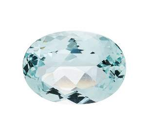 39.38 CT OVAL FACETED LOOSE AQUAMARINE W/CERTIFICATION