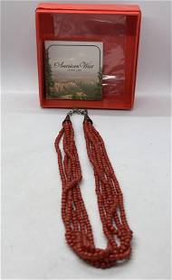 CAROLYN POLLACK QUOC CORAL BEAD AND STERLING NECKLACE